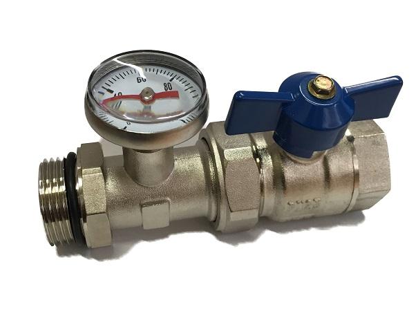 """Temerature gauge  T-end unit Blue valve 1""""M"""