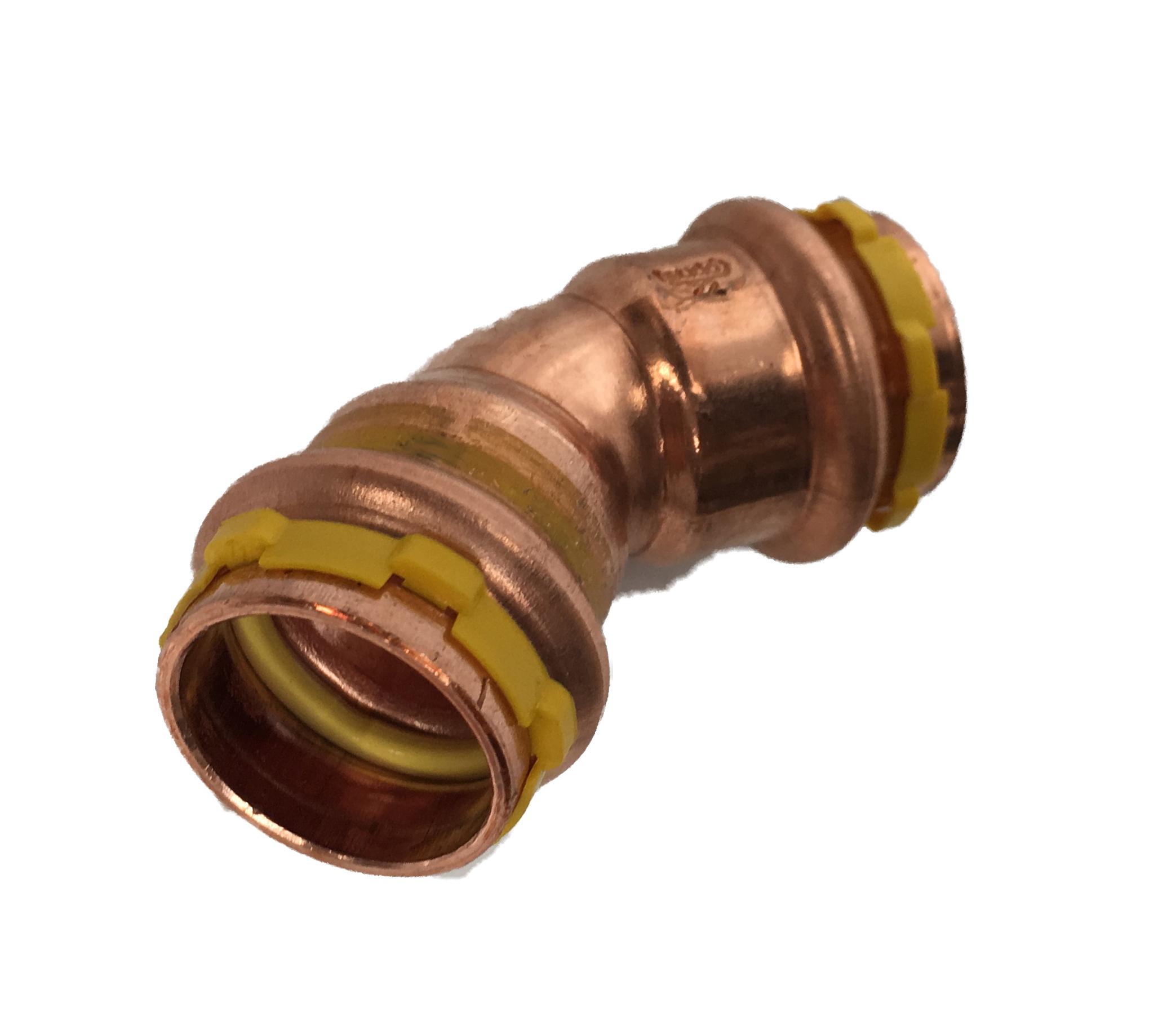 Copper Sudopress Press 45°Bend FF GAS 15x15 V-profile