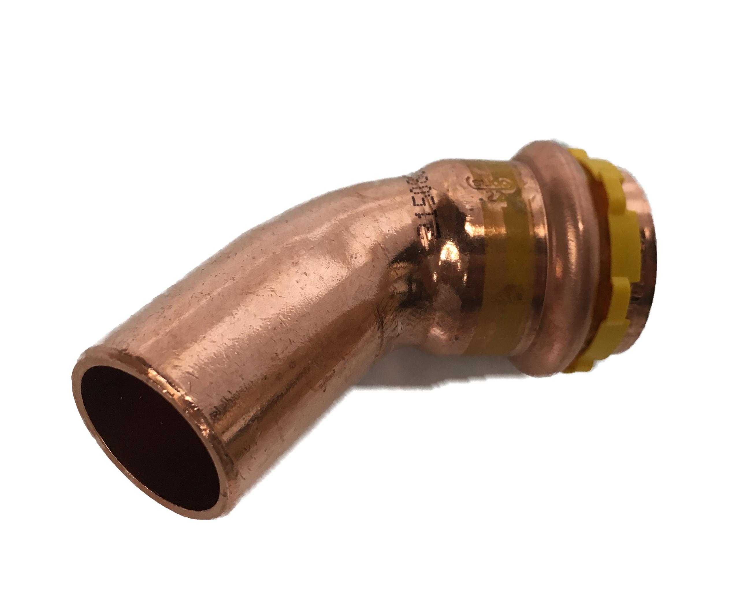 Copper Sudopress Press 45°Bend for GAS 18x18 V-profile