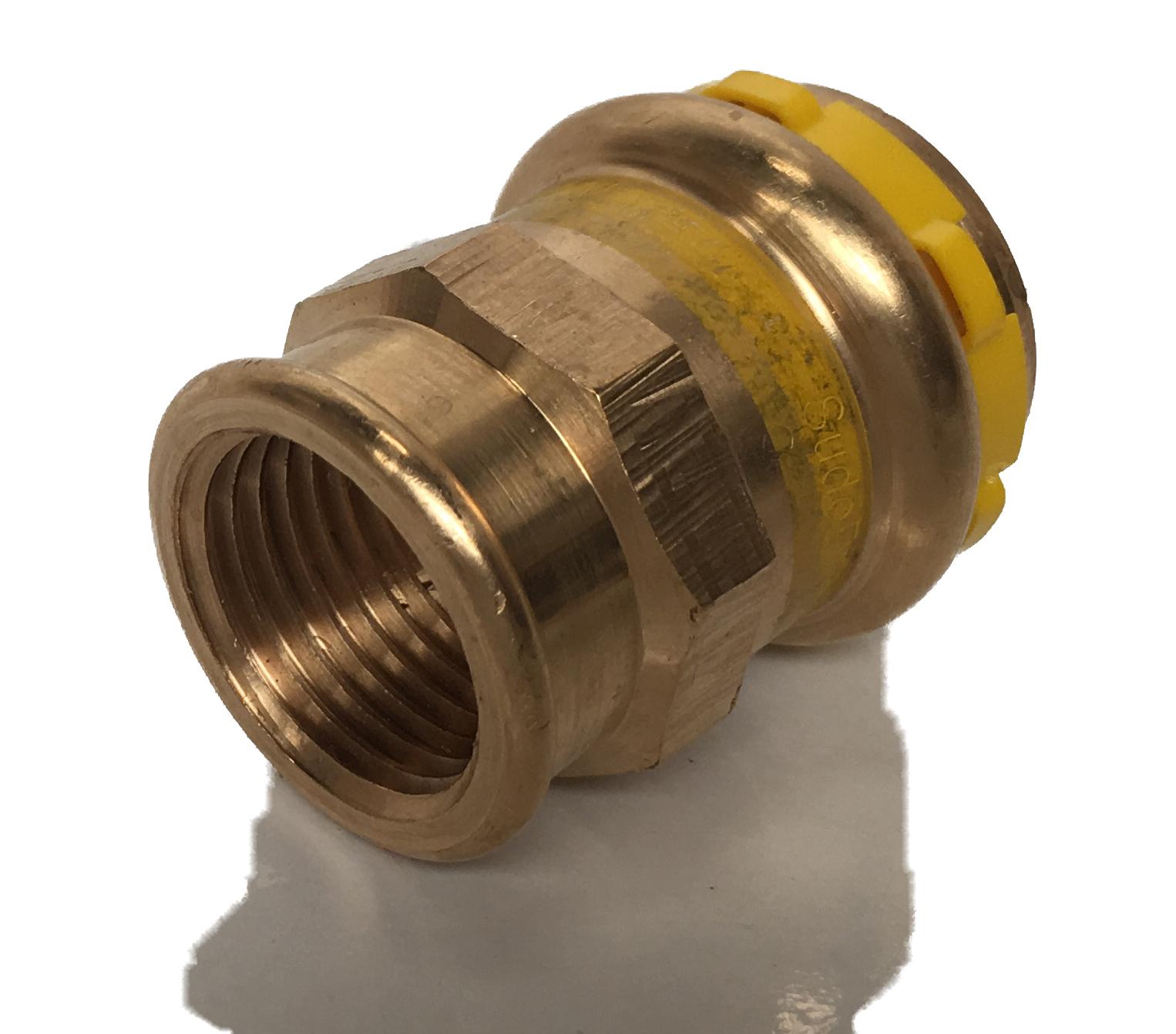 Straight fitting Copper Sudopress Press GAS 15x1/2F V-profile