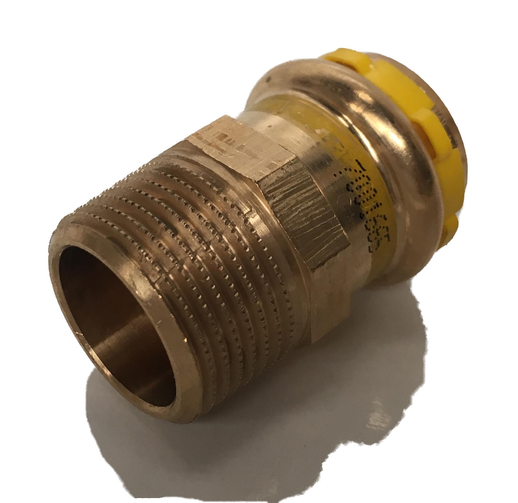 Straight fitting Copper Sudopress Press GAS 22x1/2M V-profile