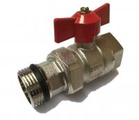 Union Ball Valve w/ Butterfly 1/2 MxF Red