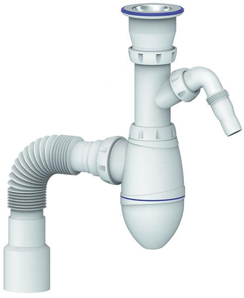 """Set Washbasin Bottle trap 6/4"""" flexible hose 40/50 waste washmachine"""