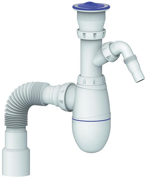"""Set Kitchen Bottle trap 6/4"""" flexible hose 40/50 waste washmachine"""