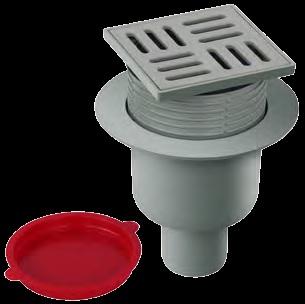 Floor trap PVC 10x10 Vertical 50 mm. Ajustable