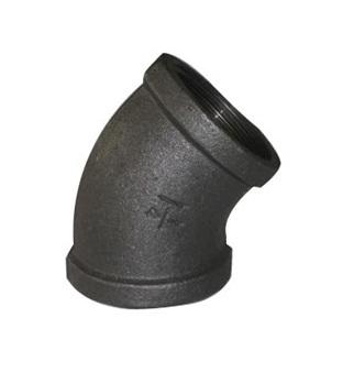 Malleable Iron Elbow 45° 3/4Fx3/4F Black