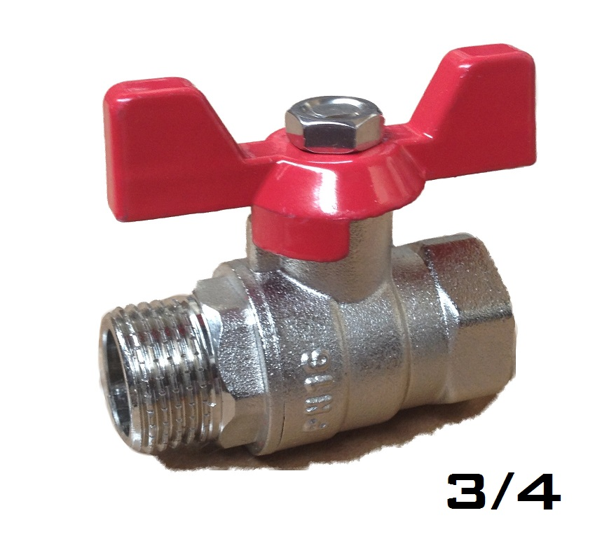 Ball Valve w/ Butterfly 3/4 MxF Red