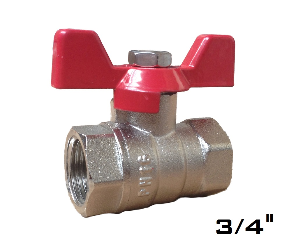 Ball Valve w/ Butterfly 3/4 FxF Red