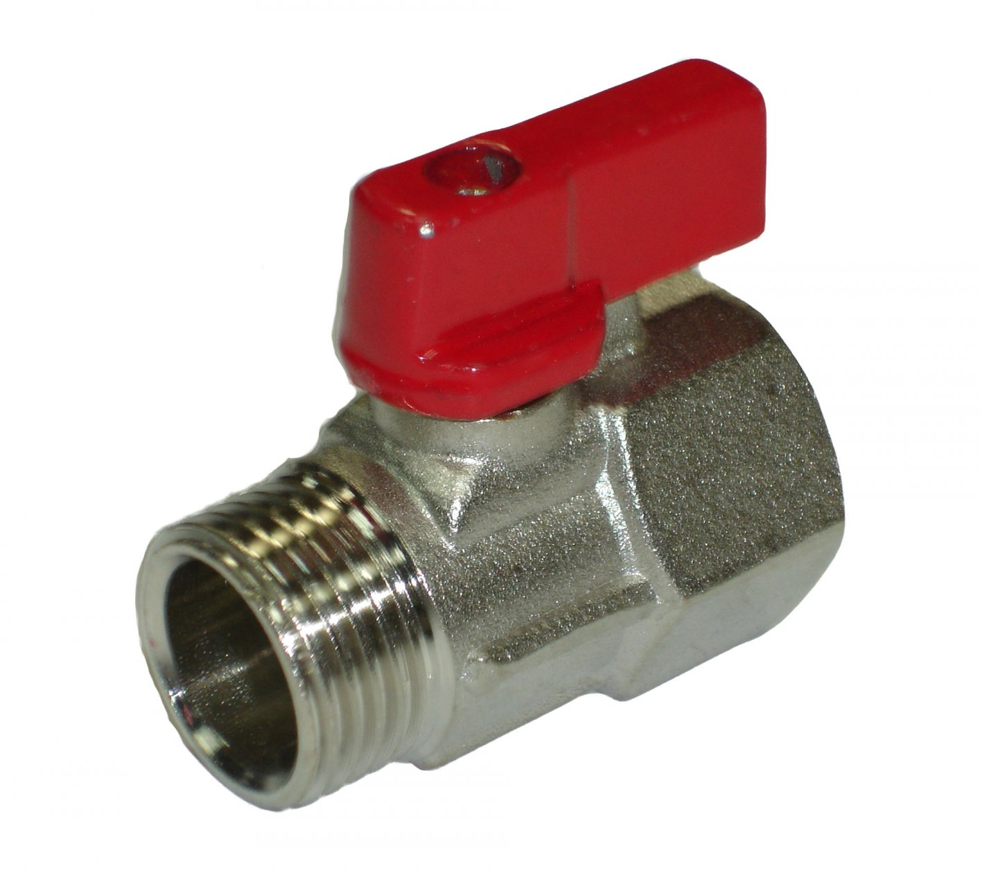 Mini Ball Valve 1/2MxF Red