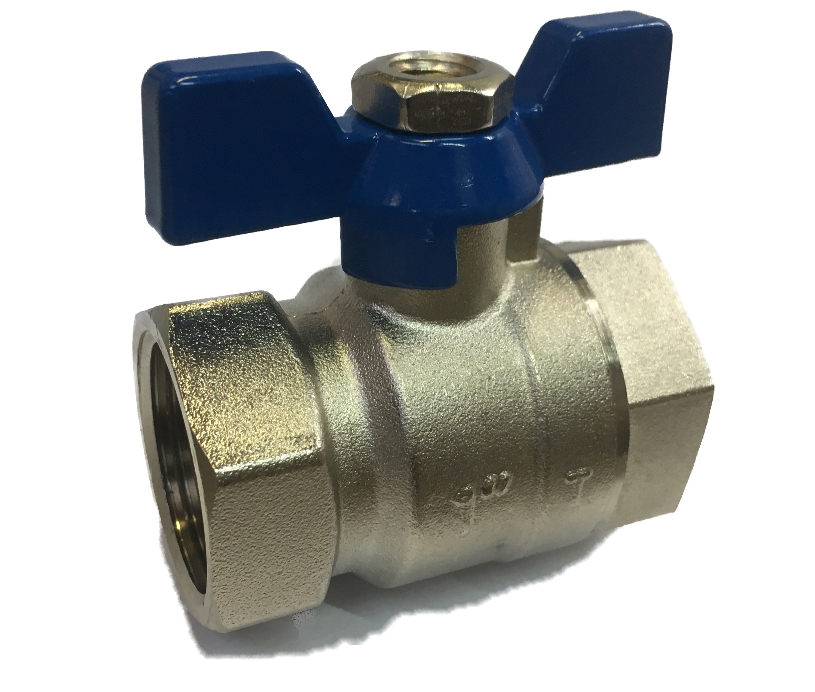 Ball Valve w/ Butterfly 1/2 FxF Blue